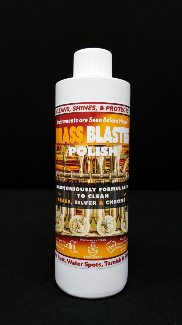 Brass Blaster™ Polish, cleans and polishes Brass, Silver, and Chrome Instruments. Horns, Saxophones, Tubas, Trombones, Band Instruments, French Horns, Brass metal, and Brass Fixtures. Great for Instrument care and cleaning!